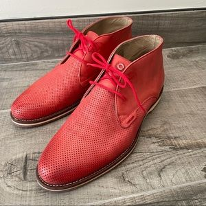 Nobrand men's red leather lace up loafers